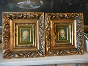 Two Vintage Miniature Oil Paintings On Board Of Little Boy And Girl Signed Trish