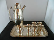 Casque And Gauntlet Dartmouth Society Art Deco Silver Martini, Cocktail Shaker Set