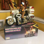 Vintage Sun Ta Toys Large Scale B/o Police Motorcycle Perfectly Working W/box