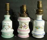 3 Old Oil Lamps Converted Porcelain Milk Glass Decorated Boudoir