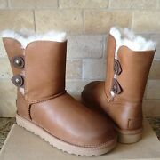 Ugg Classic Short Marciela Button Chestnut Leather Fur Boots Size Us 7 Womens