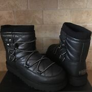 Ugg Puff Momma Lakes And Lights Black Leather Classic Short Boots Size 7 Womens