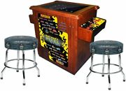 Pac-man Pixel Bash Cocktail 32 Games Wood Grain Finish With Stools