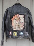 Vintage Indian Leather Motorcycle Jacket 50and039s Or 60and039s Sz 42 Heavy Nice Patina