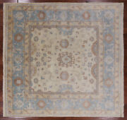 9and039 Square Turkish Oushak Hand Knotted Wool Area Rug - Q1055
