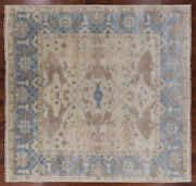 10and039 Square Turkish Oushak Hand Knotted Wool Area Rug - Q1008