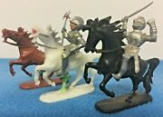 Vintage West German Plastic Toys Horses Medieval Knights Lot Germany Armour