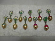 Extremely Rare 10pc. Feathered Decorated Egg-shaped Christmas Ornaments