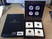 Canada 2011 And 2012 Rcm Full Moon 5 Silver And Niobium 4-coin Set In Display Box