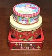 Empty Decorative Christmas Tins Lot Of 3 Ornaments, Poinsettia And Snowman