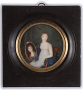 Ph.-h-j. Arresse 1758-1817-attrib. Girl With Portrait Of Her Mother Ca.1805