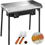 32x17 Flat Top Griddle Grill And Propane Fueled 2 Burners Stove Stainless Steel