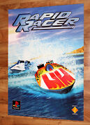 1996 Vintage Rapid Racer Game Store Promo Very Rare Poster Ps1 Playstation 1