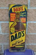 Antique / Vintage Dadand039s Old Fashioned Draft Root Beer Sign - Rare