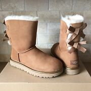 Ugg Short Bailey Bow Ii Metallic Chestnut Suede Ankle Boots Size Us 7 Womens
