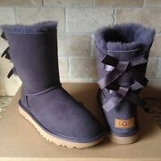 Ugg Short Bailey Bow Ii Nightfall Water-resistant Suede Boots Size Us 7 Womens