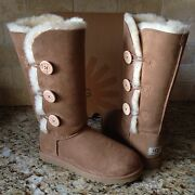 Ugg Bailey Button Triplet Triple Chestnut Tall Boots Size Us 7 Womens