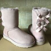 Ugg Short Bailey Bow Ii Metallic Dusk Suede Ankle Boots Size Us 7 Womens
