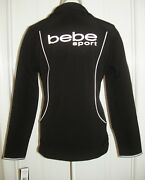 Bebe Sport Womenand039s Full Zip Front Jacket W/large Bebe Logos Size Stretchy L Nwt