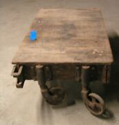 Vintage / Antique Wooden Cart Steampunk With Cast Iron Wheels