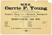 Broadside Mrs Carrie F Young Of Berkeley...on People's Party 1st Ed Ca 1894