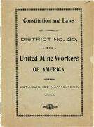 Very Rare Early Umwa Constitution - District 20 Alabama 1898 Mine Workers