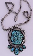Early Sterling Silver Unusual Huge Beads And Foam Turquoise Nugget Navajo Necklace