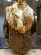 Persian Lamb With Fox Collar Fur Coat/jacket. Size 44 Eur Or Size 14 Us. New