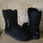 Ugg Lilou Bailey Button Charms Black Suede Cuff Short Boots Size Us 7 Womens