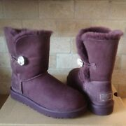 Ugg Classic Short Bailey Button Bling Crystal Port Suede Boots Size Us 7 Womens