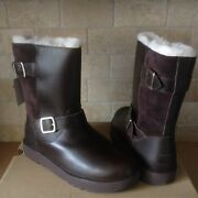 Ugg Breida Stout Brown Waterproof Leather Fur Buckle Short Boots Size 7 Womens