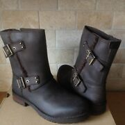 Ugg Niels Water-resistant Stout Brown Leather Moto Short Boots Size 7 Womens