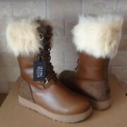 Ugg Aya Chestnut Waterproof Leather Fur Toscana Cuff Snow Boots Size Us 8 Womens