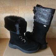 Ugg Atlason Frill Black Waterproof Leather Toscana Tall Snow Boots Size 7 Womens