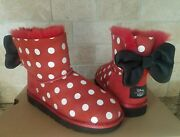 Ugg Disney Minnie Sweetie Bow Red Black Suede Boots Size 3 Kids = Womens Us 5