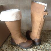 Ugg Miko Chestnut Waterproof Leather Fur Rain Snow Tall Boots Size Us 7 Womens