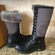 Ugg Adirondack Tall Black Leather Waterproof Event Snow Boots Size Us 6 Womens