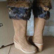Ugg Valberg Toscana Fur Cuff Chestnut Suede Wedge Tall Boots Size Us 8 Womens