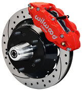 Wilwood Disc Brake Kit,front,82-92 Gm F-body,14 Drilled Rotors,6 Piston Red