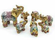 Set Of 7 Pcs Vintage Golden Indian Elephant Family Statues Wealth Lucky Figurine