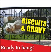 Biscuits And Gravy Banner Vinyl / Mesh Banner Sign Flag Cookie Carnival Fair Food