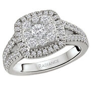 New Ladies 14k White Gold Diamond Cluster Halo Cushion Engagement Ring .88cts.