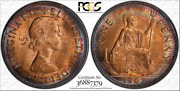 1967 Great Britain One Penny Pcgs Ms64rd Target Rainbow Toned Coin Low Pop