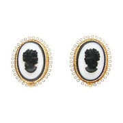 Vintage Amco Black And White Cameo Earrings