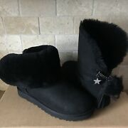 Ugg Classic Charm Star Bling Pom Pom Black Short Ankle Boots Size 8 Womens