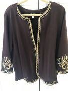 Bob Mackie Wearable Art Embroidered Cardigan Brown Gold Black Size Xl
