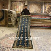 Yilong 2.5and039x10and039 All Over Handmade Silk Rug Runners Blue Hallway Carpets 0391