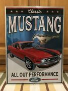 Ford Mustang Red Metal Shelby Cobra Mach Man Cave Garage Shop Fastback Boss 302