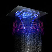 Ceiling Mounted Square Rainfall Shower Head 800600mm Big Led With Sound System