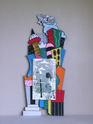 Memphis Mendini Sottsass Post Modern Cityscape Hand Painted And Etched Mirror '93